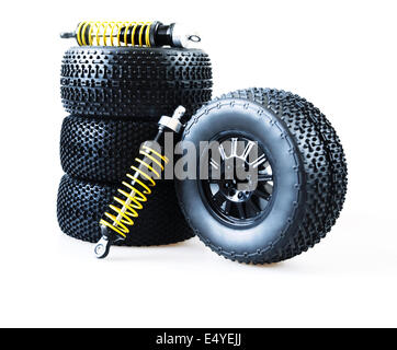 wheels and shock absorbers - Stock Photo