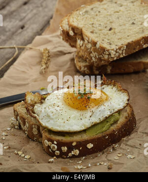 Avocado Breakfast Sandwich - Stock Photo