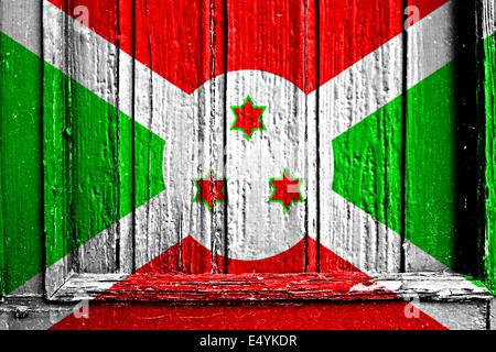 flag of Burundi painted on wooden frame - Stock Photo