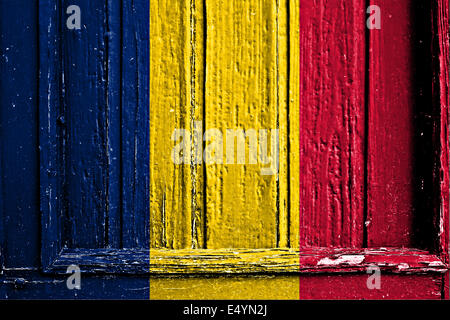 flag of Tchad  painted on wooden frame - Stock Photo
