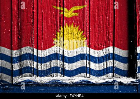 flag of Kiribati painted on wooden frame - Stock Photo