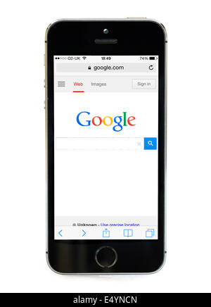 Google home page on an Apple iPhone 5S, UK - Stock Photo