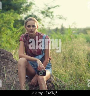 Hipster girl posing - Stock Photo
