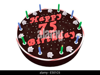 Birthday Candles Number Seventy Five Isolated On White Background Chocolate Cake For 75th