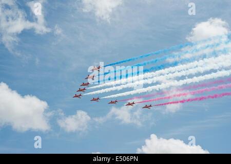 RAF Red Arrows aerobatic display team. - Stock Photo