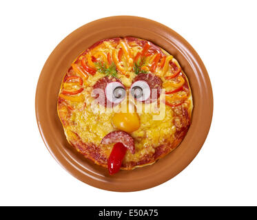 Smiley Faced Pizza - Stock Photo