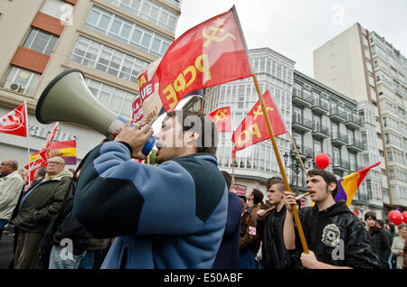 The traditional Mayday march is underway in Santander. Mayday marks international labour day every 1st of May in - Stock Photo