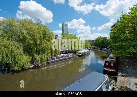 The Castlefield Urban Heritage Park and historic inner city canal conservation area including Beetham Tower in Manchester, - Stock Photo