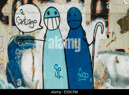 Grafitti on the great walk of Saint James, Jakobsweg, Camino de Santiago, Spain - Stock Photo