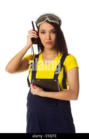 Woman with cb radio, portrait. - Stock Photo