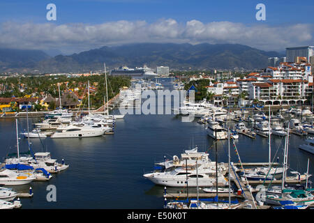 The harbor at Puerto Vallarta, Jalisco, Mexico as seen from the El Faro bar. - Stock Photo