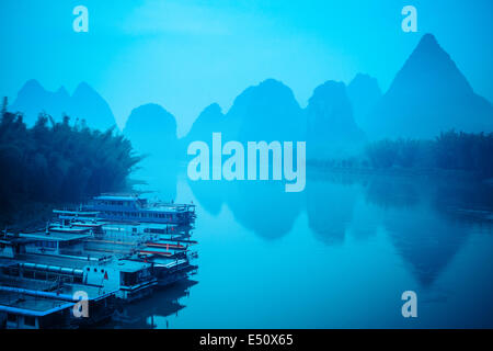 yangshuo scenery in silence morning - Stock Photo