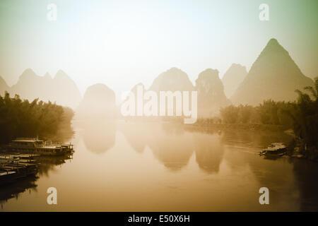 beautiful landscape in yangshuo - Stock Photo