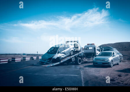 accident car on the tow truck - Stock Photo