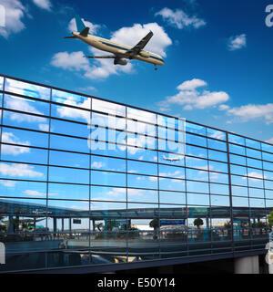 modern airport mirror glass wall - Stock Photo