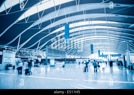 modern airport terminal interior - Stock Photo