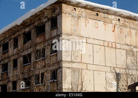 Russian city buildings block flats snow windows Stock Photo