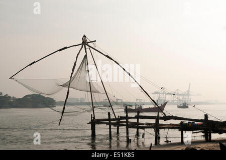 Chinese net fort kochi, cochin - Stock Photo