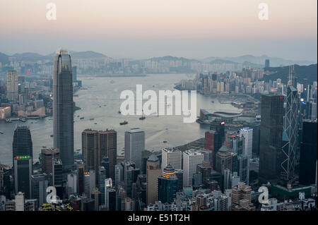 General view of Hong Kong skyline and Victoria harbour in Hong Kong - Stock Photo