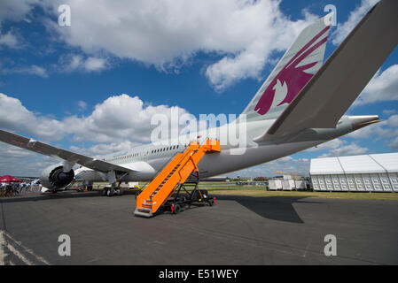 Farnborough Aerodrome, Hampshire UK. 17th July 2014. The international aerospace exhibition is the UK's biggest - Stock Photo