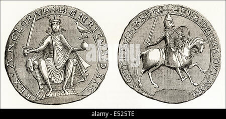 Great Seal of Henry II, 12th century King of England. Victorian woodcut engraving circa 1845 - Stock Photo