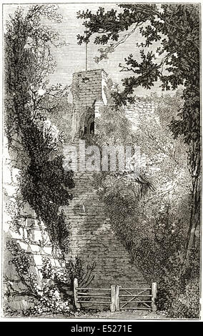 The Keep of Carisbrooke Castle built in 12th century, Isle of Wight. Victorian woodcut engraving circa 1845. - Stock Photo