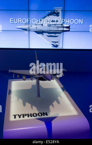 BAE Systems Typhoon jet fighter presentation model, exhibited at the Farnborough Air Show, England. - Stock Photo