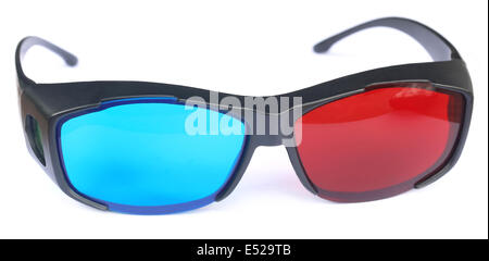 Glasses for watching 3d movies over white background - Stock Photo