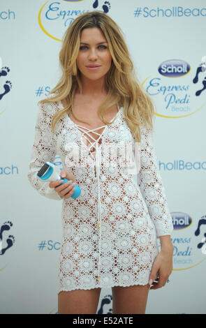 London, UK, UK. 18th July, 2014. Abbey Clancy attends Scholl- pop-up pedicure beach launch photocall at Westfield - Stock Photo