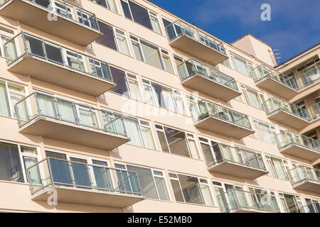 Seaside apartments at Tenby, Pembrokeshire, South Wales, UK - Stock Photo