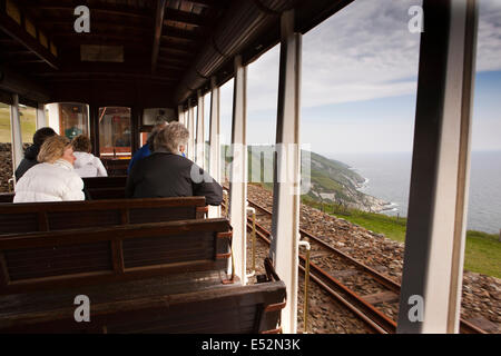 Isle of Man, Manx Electric Railway, passengers in open car at Dhoon - Stock Photo