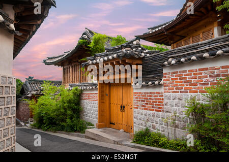 Traditional Korean architecture in Bukchon Hanok Village in Seoul, South Korea. - Stock Photo