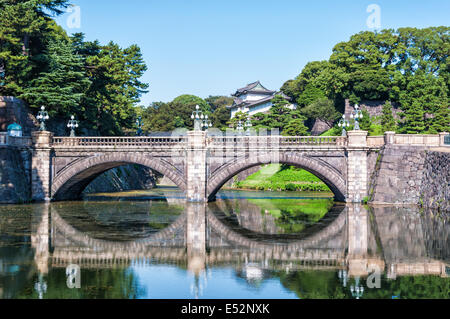 The Imperial Palace and Nijubashi Bridge in Tokyo, Japan. - Stock Photo