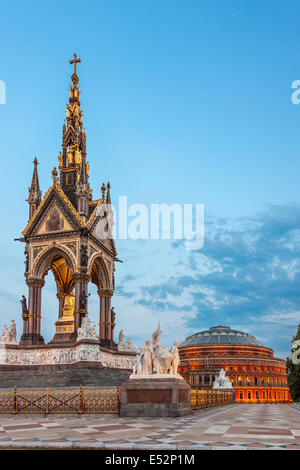Albert Memorial and Royal Albert Hall,View from Hyde Park,London,England - Stock Photo