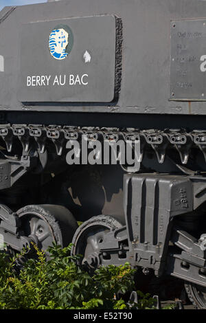 French 2nd DB Sherman tank Berry Au Bac on display at Arromanches, Normandy, France in July - Stock Photo