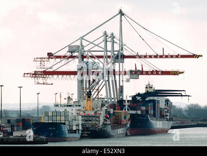 AJAXNETPHOTO. DUNKERQUE, FRANCE-Container ships and cranes at the docks. PHOTO:JONATHAN EASTLAND/AJAX - Stock Photo
