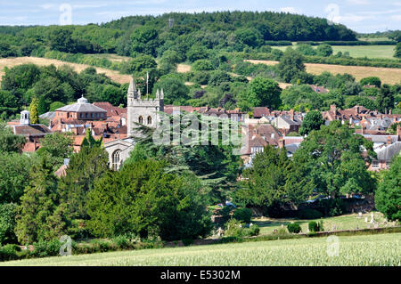 Bucks Chiltern Hills - view over Amersham Old Town - set amid mature trees in lovely valley of river Misbourne  - Stock Photo