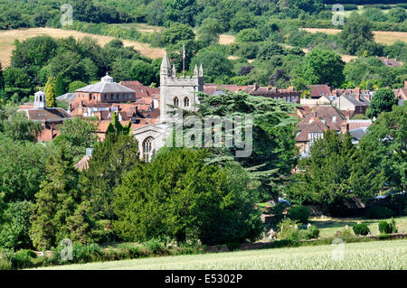 Bucks Chiltern Hills - view over Amersham Old Town - russet rooftops - church tower - fine setting amid trees - - Stock Photo