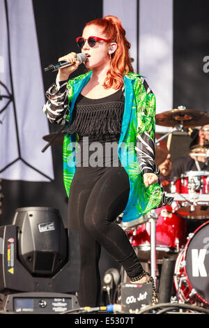 Victoria Park, London, UK, 18th July 2014, Katy B on the Main stage at Lovebox 2014.  Credit: Richard Soans/Alamy - Stock Photo