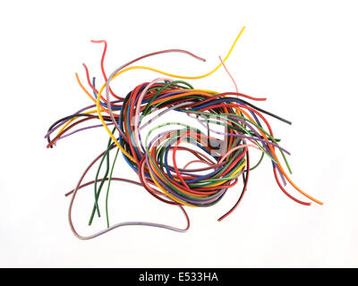 Bunch of colorful electrical cables with cable ties isolated on ...
