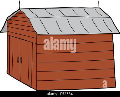 Isolated cartoon wooden barn with closed doors - Stock Photo