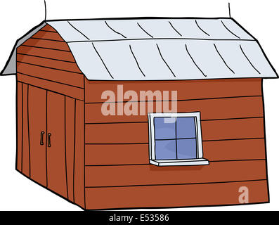 Cartoon red barn with closed doors and tin roof - Stock Photo