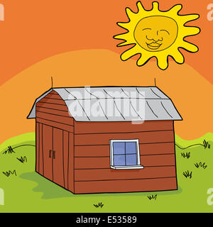Hot sun over cartoon barn with closed doors - Stock Photo