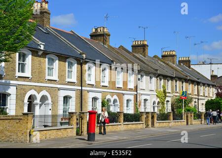 Row of terraced houses, Richmond Road, Twickenham, Borough of Richmond upon Thames, Greater London, England, United - Stock Photo