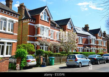 Terraced houses, Lebanon Park, Twickenham, London Borough of Richmond upon Thames, Greater London, England, United - Stock Photo