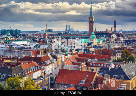 Copenhagen, Denmark old city skyline. - Stock Photo