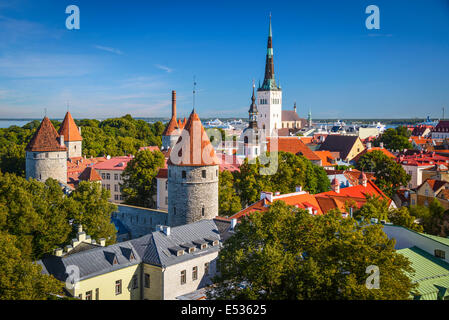 Tallinn, Estonia old city skyline. - Stock Photo