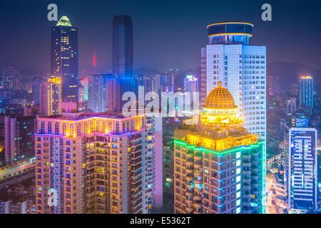 Guiyang, China downtown cityscape at night. - Stock Photo