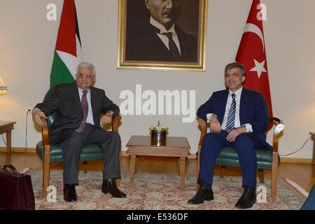 Istanbul, Turkey. 18th July, 2014. Palestinian President Mahmoud Abbas (L) meets with Turkish President Abdullah - Stock Photo