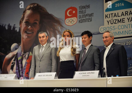 Istanbul, Turkey. 18th July, 2014. Dutch swimmer and former world record holder Inge de Bruijn (2nd L), President - Stock Photo